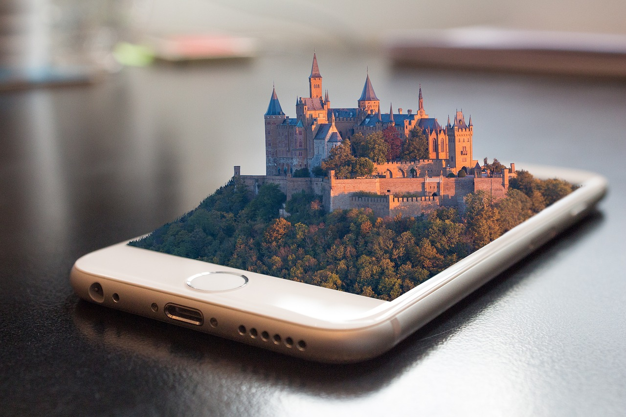 A Smartphone app that shows a castle coming out of it. Apps