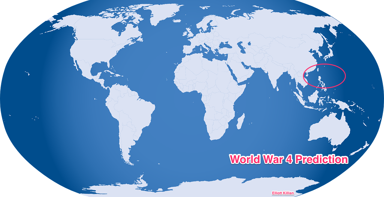 The next world war could be in Asia. A global map with a circle in the south china sea that covers a piece of Vietnam and Philippines. The circle includes US territories such as Guam and new Islands Created by China