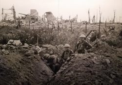 A battlefield from world war one that has trenches.