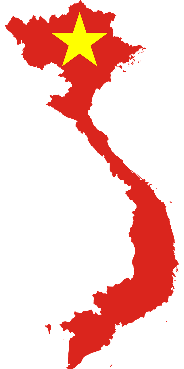 A map of Vietnam with the flag over the land. Vietnam will have lots of economic growth in the future.