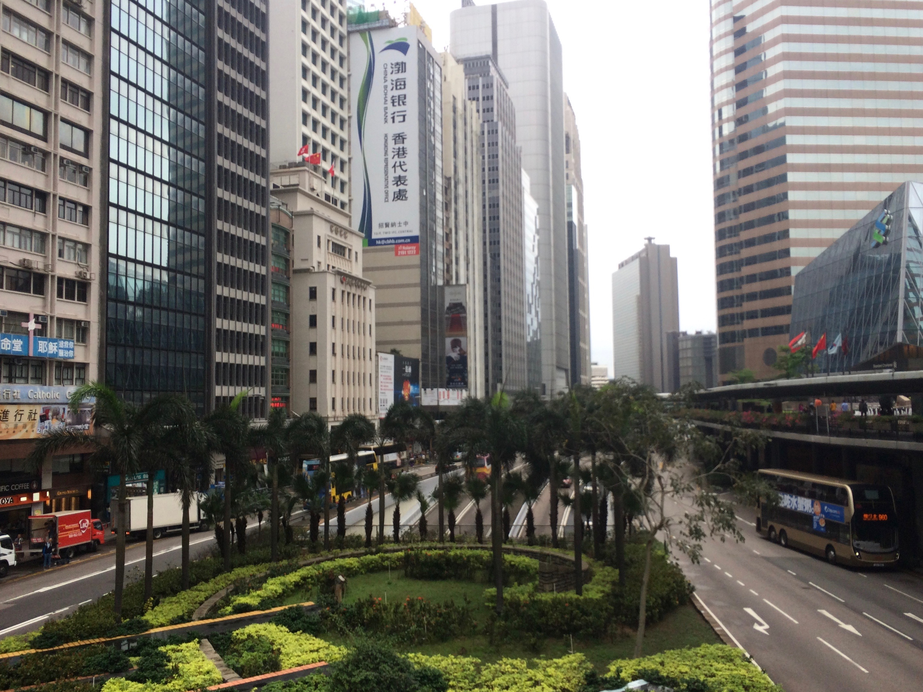 View of the Hong Kong. Tall buildings and streets