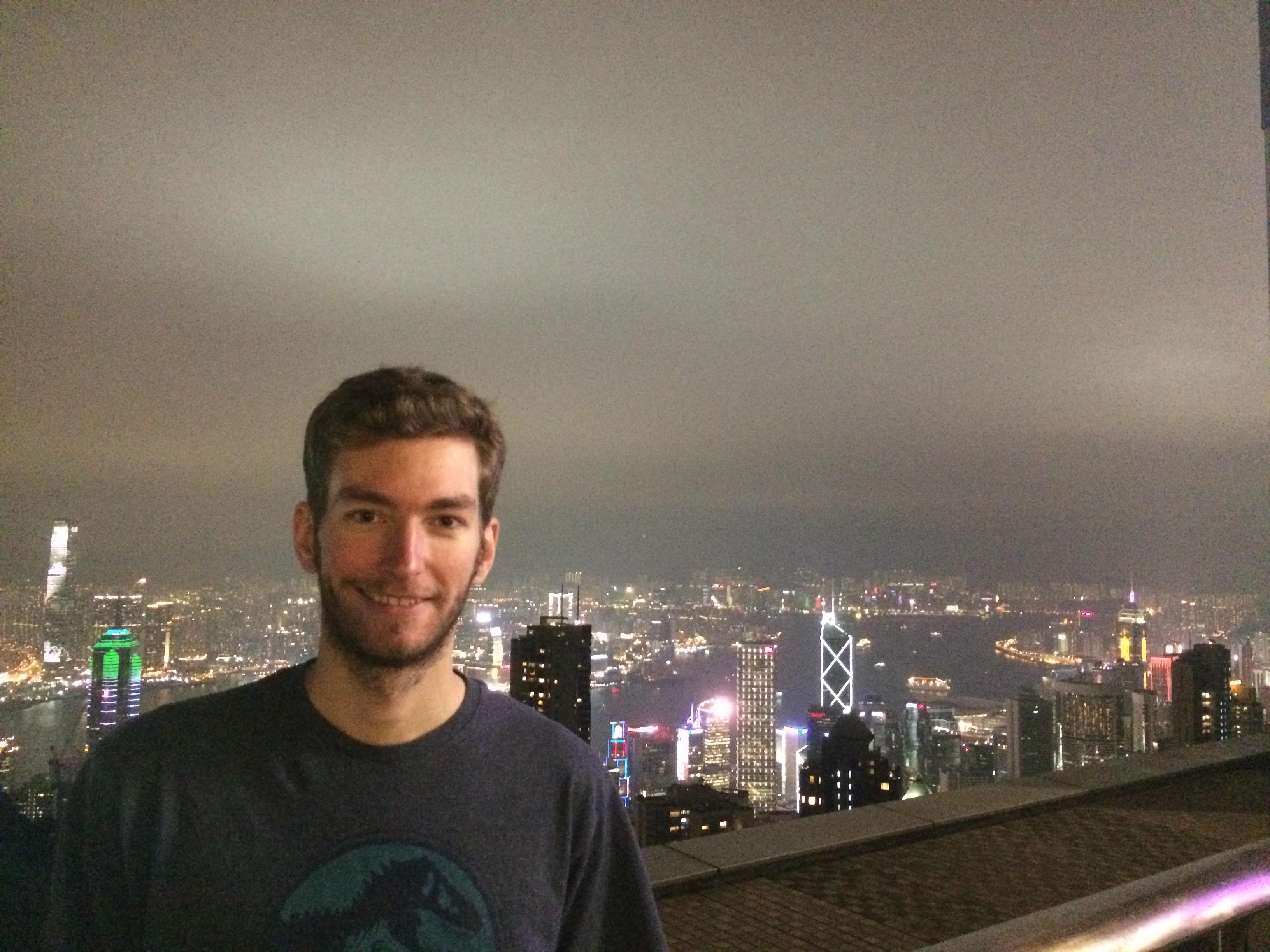 Elliott Killian in Hong Kong. Victoria Peak overlooking the entire city.