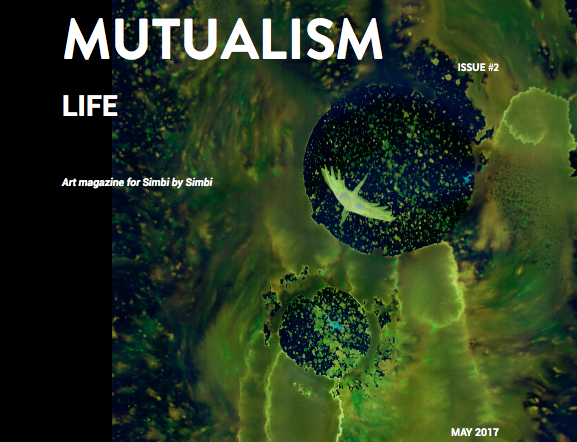 Cover of a magazine for Mutualism magazine on the simbi platform. Abstract artwork on the front. Might look like a small dragon flying around green clouds.