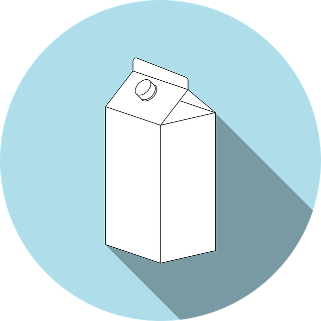 A illustration of a milk container that has a blue circle as the background. Most milk packages are designed by Tetra Pak. Recycling, packaging